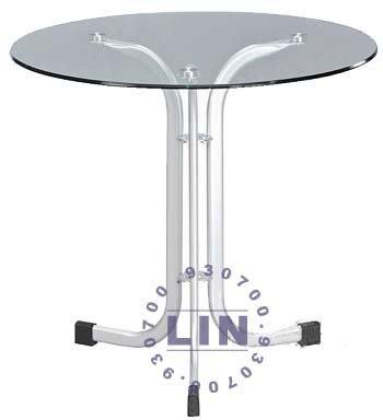 【品特優家具倉儲】367-11餐桌閃光銀扁管玻璃圓桌2尺