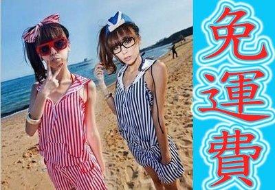 現貨【送泳帽 附胸墊】泳裝 游泳衣 紅-藍M/L 鋼圈 聚胸平角bikini 比基尼 百搭 條紋 性感 海軍風可參考