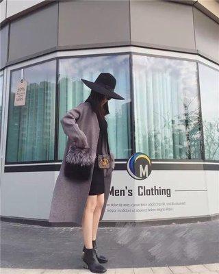 【時尚拜金女】貴氣時尚風 灰色狐狸毛大口袋 針織長大衣外套