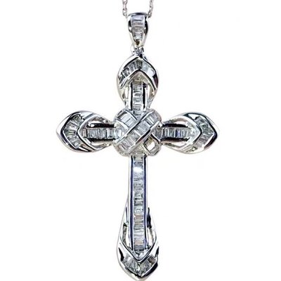 ✨?✝️克羅心哥德風18k金豪鑲天然T鑽十字架奇蹟Trust鑽石墜飾✝️?✨