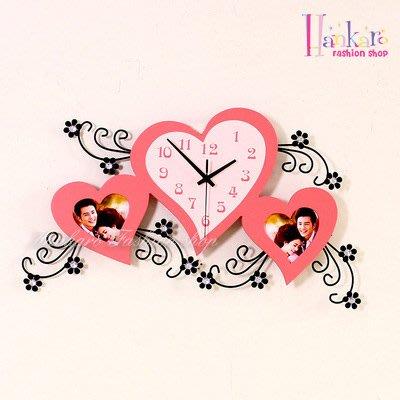 ☆[Hankaro]☆ 歐美流行創意鐵藝木質愛心造型相框時鐘
