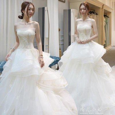 YEAHSHOP 輕婚紗禮服新娘2018新款公主抹胸大碼齊地出門紗森系簡約長拖尾女70370Y185