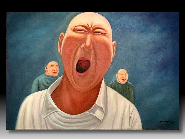 【 金王記拍寶網 】U1238  九O年代當代亞洲藝術家 岳敏君款 手繪油畫一張 ~ 罕見系列作品 稀少 藝術無價~
