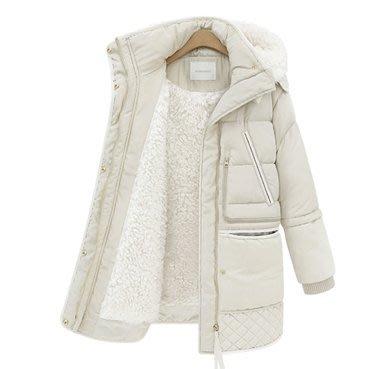 現貨 黑XXL  中長款加絨加厚保暖棉服棉衣外套大衣F1035.1801羊羊羔毛外套女 這款偏小碼可選大一碼