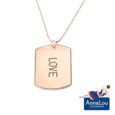 Anna Lou OF LONDON 台北ShopSmart直營店 倫敦品牌 優雅方牌字墜 玫瑰金項鍊 LOVE