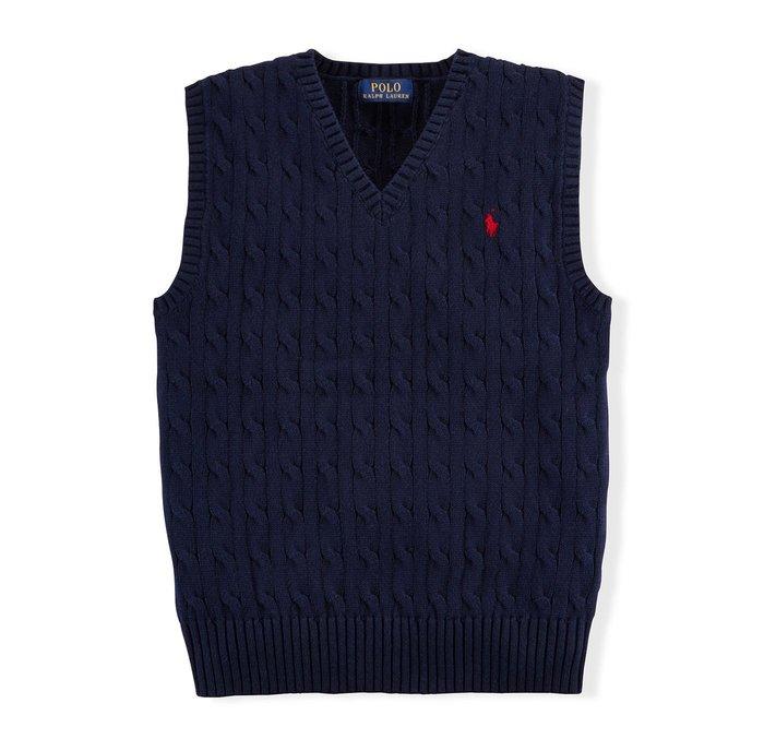 美國百分百【全新真品】Ralph Lauren 麻花 針織衫 RL 背心 上衣 Polo 小馬 XS S 深藍 C085