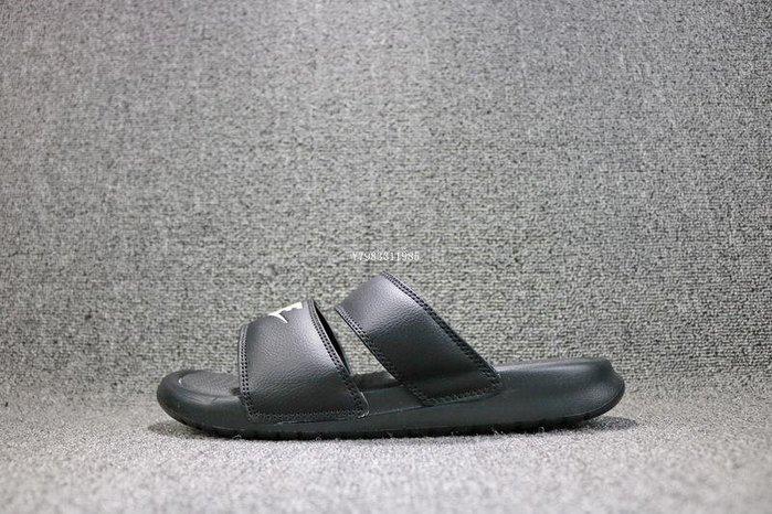 Nike Benassi Duo Ultra Slide 黑白 百搭 雙帶 休閒拖鞋 819717-010