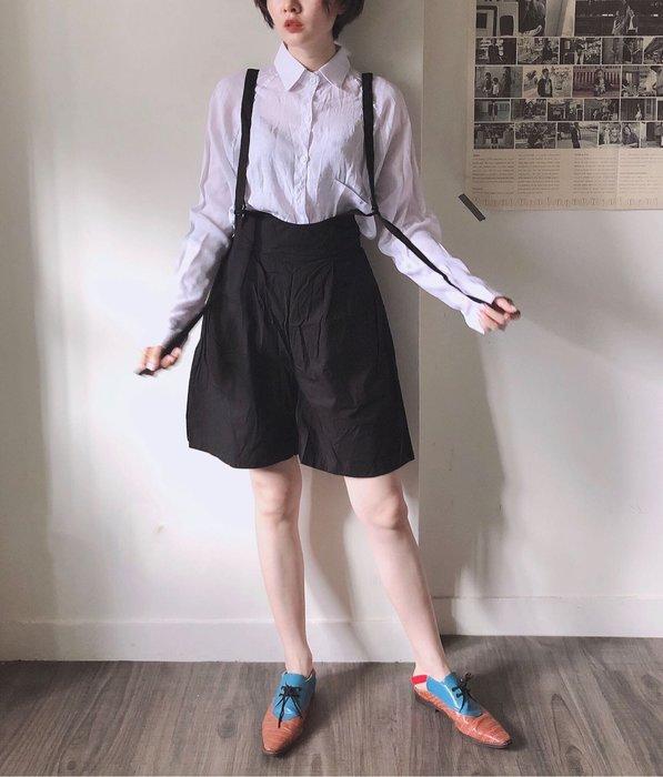SeyeS  個性自然風基本款寬鬆五分吊帶短褲