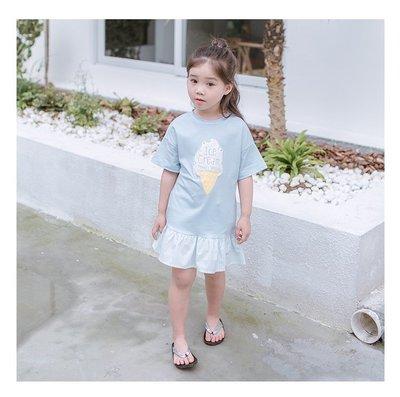 【Mr. Soar】C4014 夏季新款 韓國style童裝女童短袖洋裝 現貨