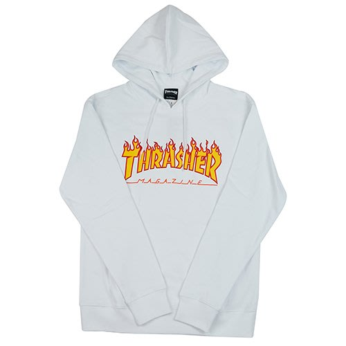 THRASHER FLAME HOODED 帽T-WHITE【HopesTaiwan】