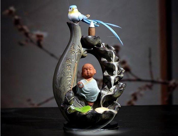 陶瓷倒流香爐創意香薰爐如來擺件小和尚