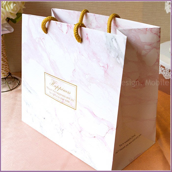 Happiness粉白大理石紋手提袋(25X22X13cm)- 小禮物袋/送客禮物包裝袋/手提紙袋/婚禮小物-幸福朵朵
