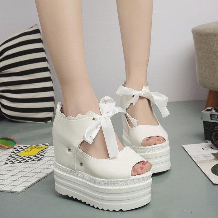 魚嘴鞋韓版厚底內增高魚嘴涼鞋 羅馬布面夏季防水台超高跟女鞋