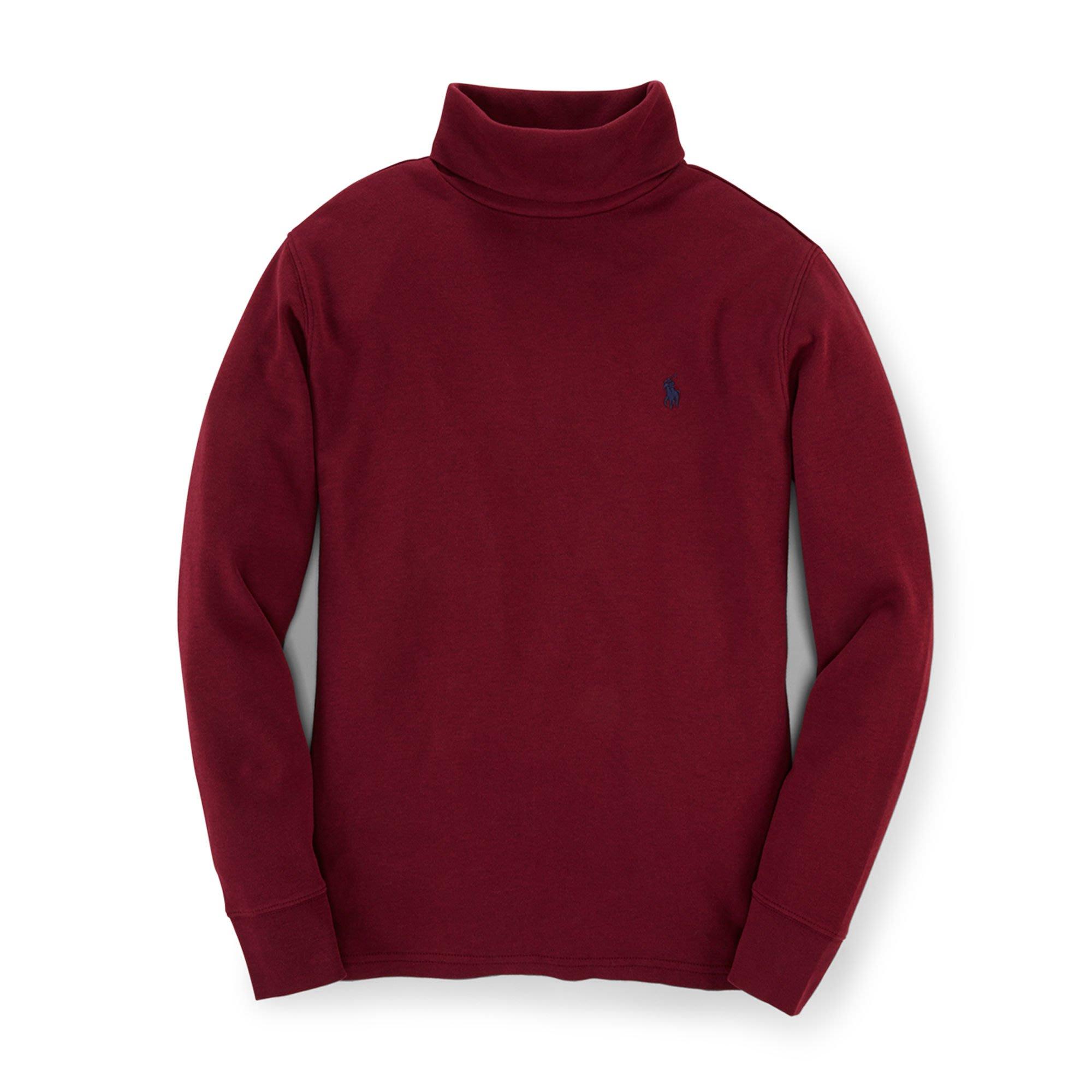 二手美國 Polo Ralph Lauren 酒紅色繡馬高領純棉T恤 大童M