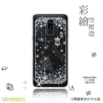 【WT 威騰國際】 WT® Samsung Galaxy J8 (18) 施華洛世奇水晶 彩繪空壓殼 軟殼 -【映雪】