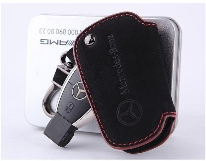 Benz賓士GLC/GLK/GLA/CLA B級 C級 E級 W205 W212 AMG汽車磨砂真皮鑰匙包 鑰匙套 皮套