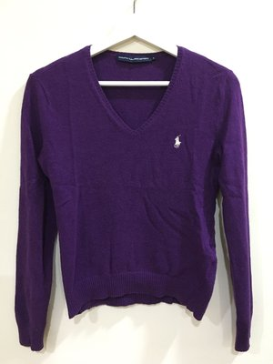 Ralph Lauren sport 美麗諾羊毛 cashmere V領 長袖 亮紫色毛衣