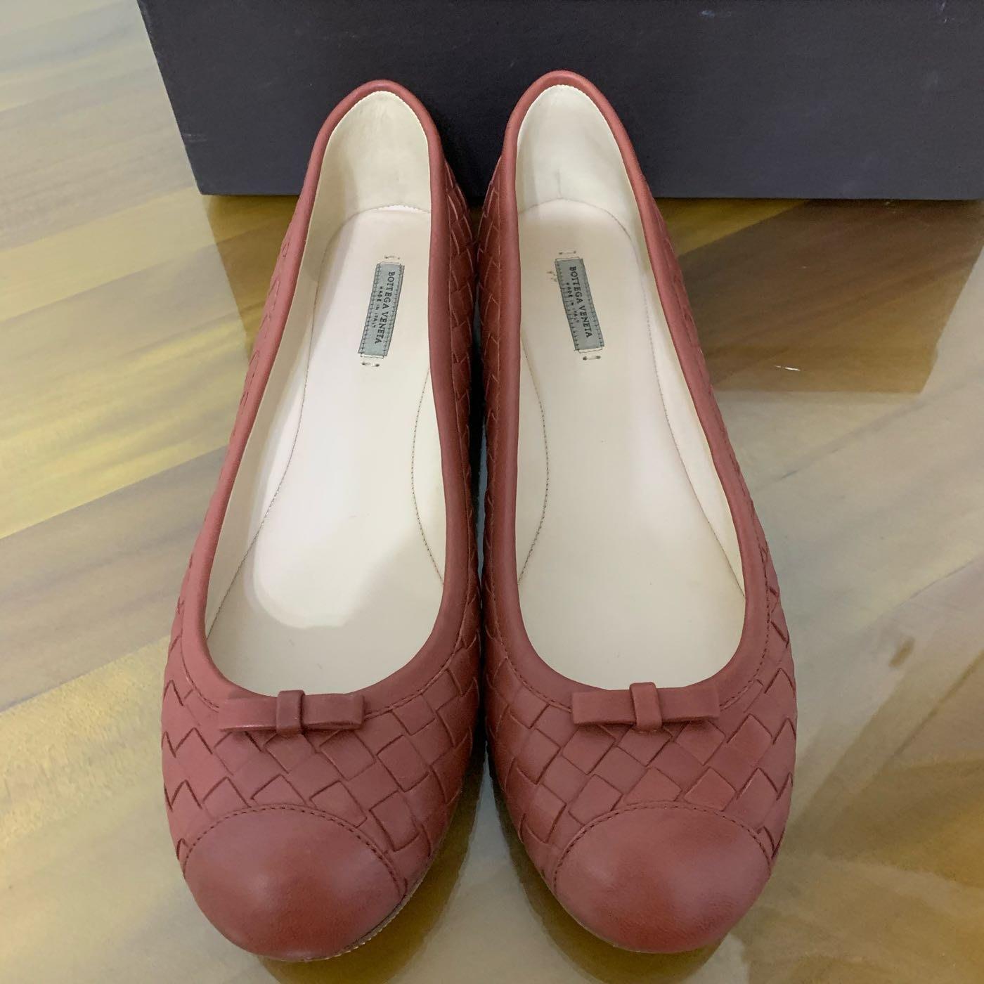 Bottega veneta 磚紅色編織娃娃鞋 真品 美鞋ㄧ雙