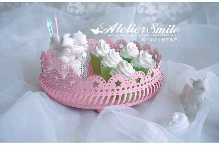 [ Atelier Smile ] 鄉村雜貨 鐵製蛋糕盤 點心架 婚宴陳設 拍照道具 # 星星花邊 #小 (現+預)