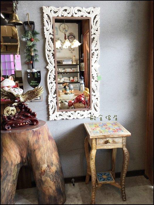 復古木製方形白色刷舊壁鏡 超大型立體雕刻仿舊玄關鏡子化妝鏡穿衣鏡連身鏡歐洲古典鄉村風掛鏡藝術造型鏡【歐舍家飾】