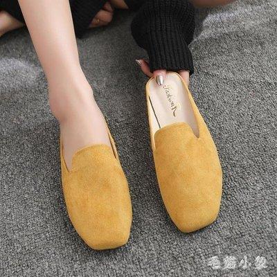 ZIHOPE 懶人拖鞋 2019新款夏季韓版百搭平跟包頭半拖鞋女一腳蹬懶人包頭鞋子ZI812
