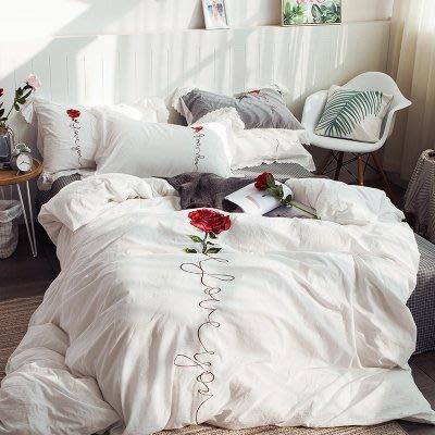 初戀一朵玫瑰Rosex春夏床包4件組(被套+床單+枕套) 美式純棉100% 北歐時尚居家人氣款 小清新祕密花園