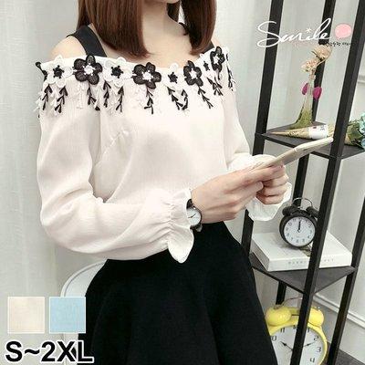 【V2521】SMILE-甜系女伶.吊帶露肩花朵長袖上衣