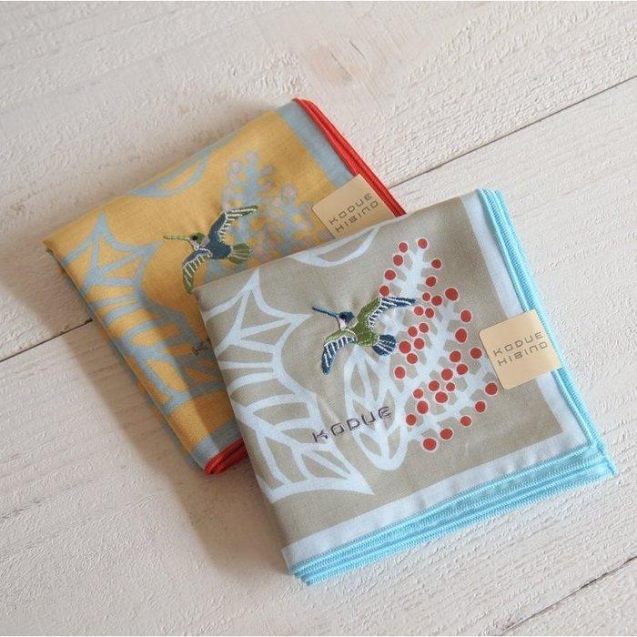 《散步生活雜貨》日本製 HIBINO KODUE - 刺繡風 100%棉 鳥與果實 大方型 手帕 手巾 -兩色選擇