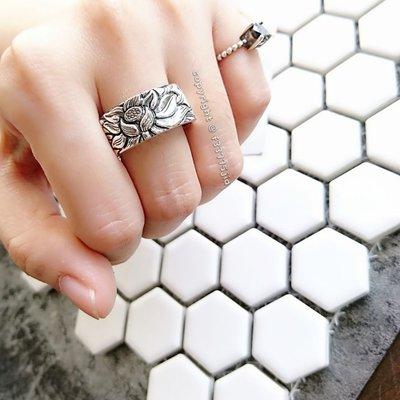 【Jia' s】蓮花內刻心經9mm寬版注黑純銀戒指足銀999。正生純銀