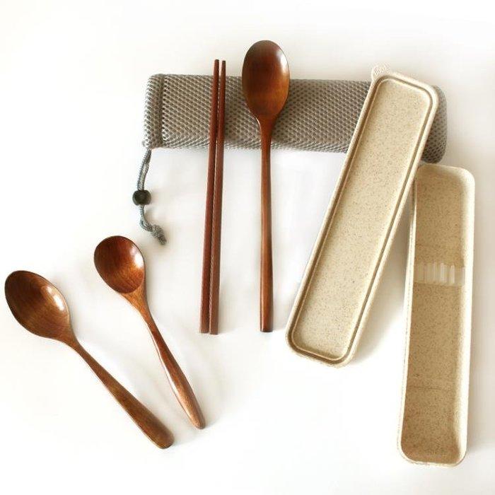 或十年 創意木質便攜餐具 學生環保原木勺子木筷子便攜盒三件套裝