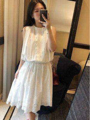 《巴黎拜金女》鏤空鉤花無袖連衣裙抽繩收腰白色背心裙