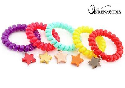 BHI1108-法國品牌RenaChris 晶瑩星星螺旋狀髮圈 髮束 手鍊【韓國製】