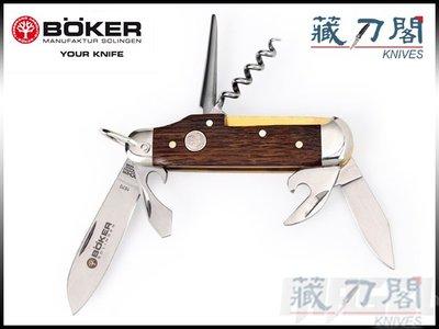 《藏刀閣》BOKER-(Camp Knife Smoked Oak)六件式橡木柄工具刀組