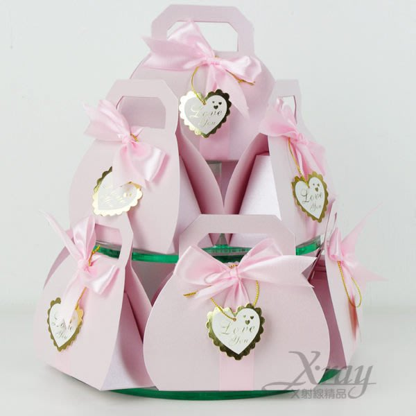 X射線節慶王【B590001】婚禮小物系列-喜糖盒喜糖袋粉紅提包款~