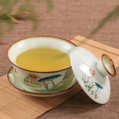 5Cgo【茗道】含稅會員有優惠 39669626163 手繪青花瓷陶瓷蓋碗茶杯 三才蓋碗功夫粉彩茶具泡茶宴客 泡茶品茗杯