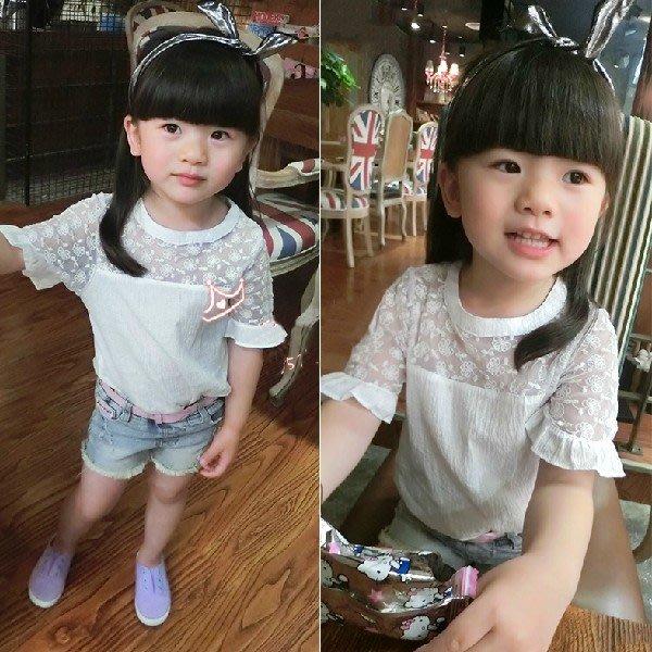 韓版《蕾絲透膚款》百搭短袖上衣 (J6-3)