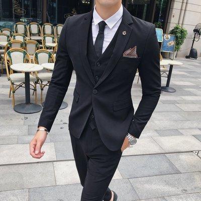 【MOZ潮流男装】秋冬季青少年男士英倫風時尚商務修身西服套裝三件套潮款