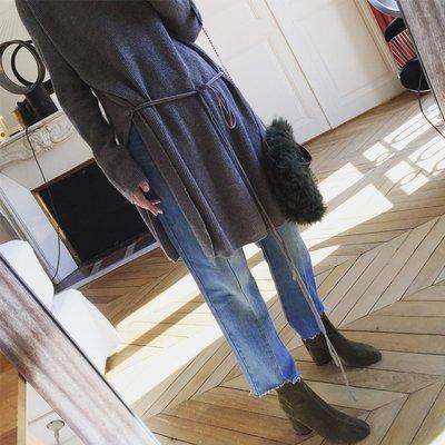 vcruan阿希哥 針織衫女秋季韓版寬松大開叉套頭中長款毛衣
