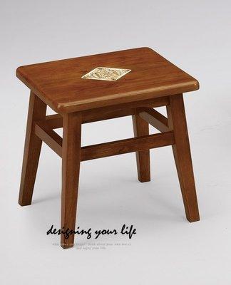 【DYL】淺胡桃色磁磚實木小凳子、小椅子(全館一律免運費)112 R