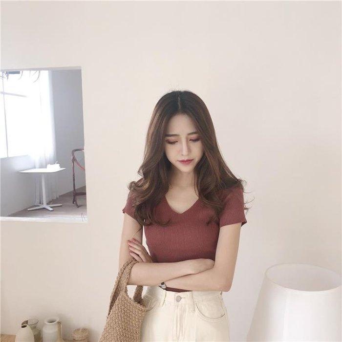夏裝2018新款chic打底短袖上衣短款針織衫體恤韓版v領緊身t恤