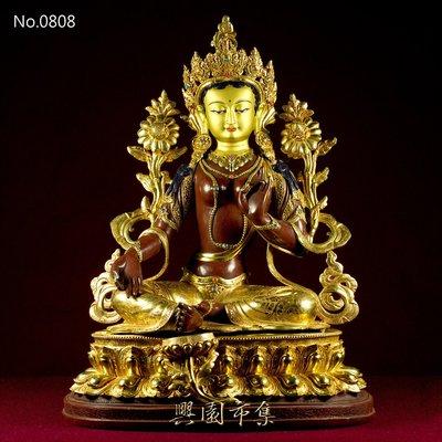 【興園市集】綠度母(Green Tara)佛像‧半鎏金‧18吋‧尼泊爾精緻手工製作‧No.0808