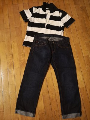 agnes b.法國時尚品牌小b polo衫#黑白條紋# 台北市
