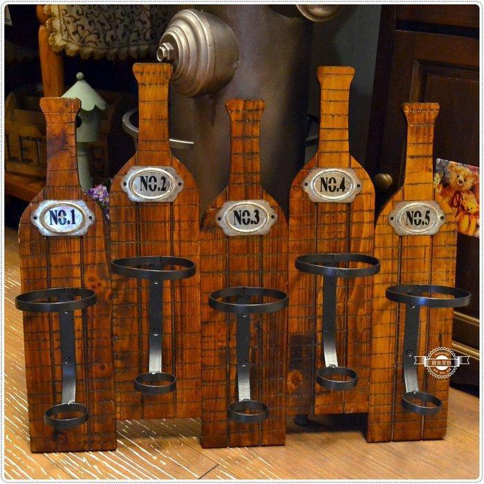 木製五瓶酒架壁架 紅酒葡萄酒香檳壁飾編號收納收藏裝飾擺飾擺設置物 民宿餐廳吧檯中島入厝開幕送禮【【歐舍家飾】】
