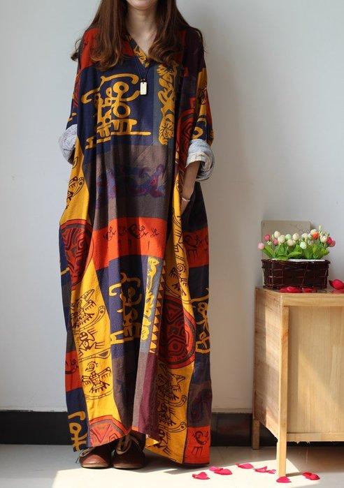 竹竹中國服飾--新款原創V領創意超大長款棉麻連衣裙長袍 2色 (特價品)
