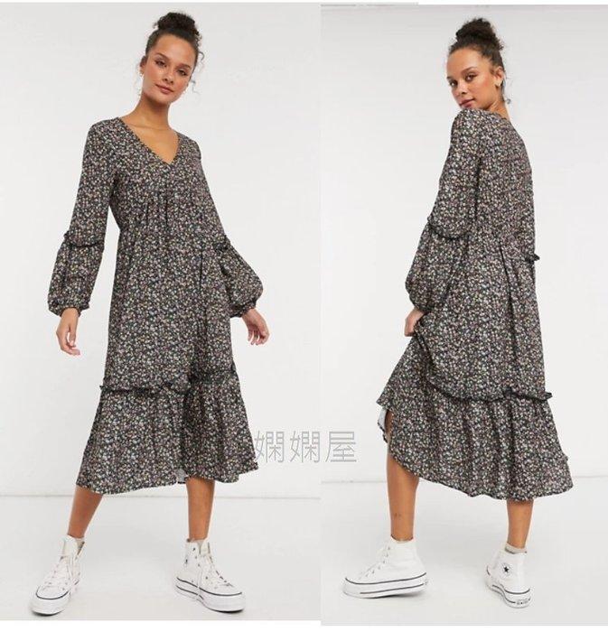 (嫻嫻屋) 英國ASOS-In The Style碎花印花V領分層捲袖寬鬆造型中長裙洋裝SJ20