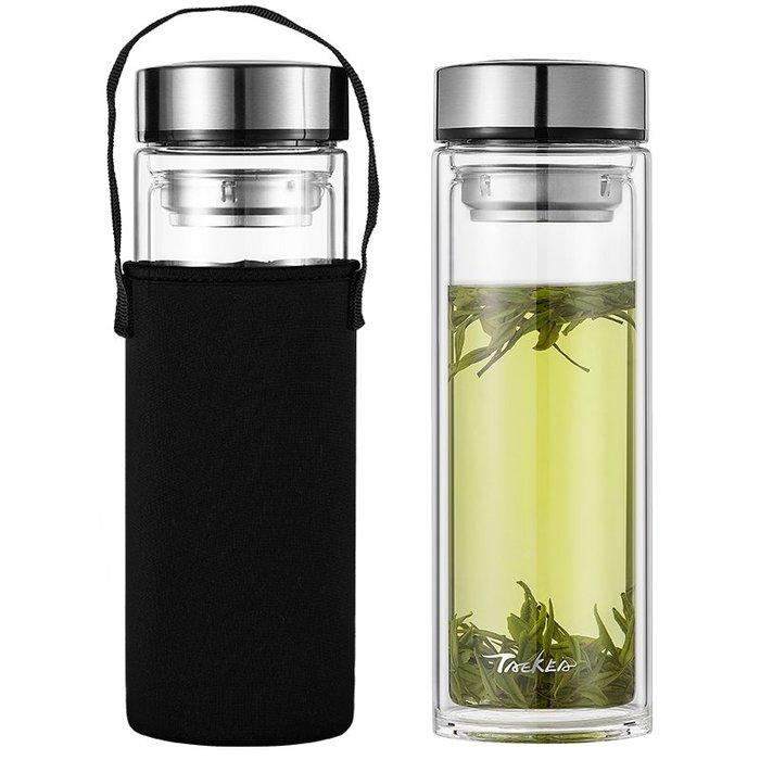 杯子雙層玻璃杯男士水杯隔熱保溫便攜杯子大容量1000ml家用泡茶杯過濾