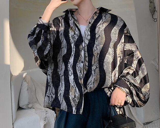 FINDSENSE 品牌 2019 春季 新款 寬鬆  潮流  個性 社會 男青年長袖 蛇紋 免燙 襯衫 復古 氣質