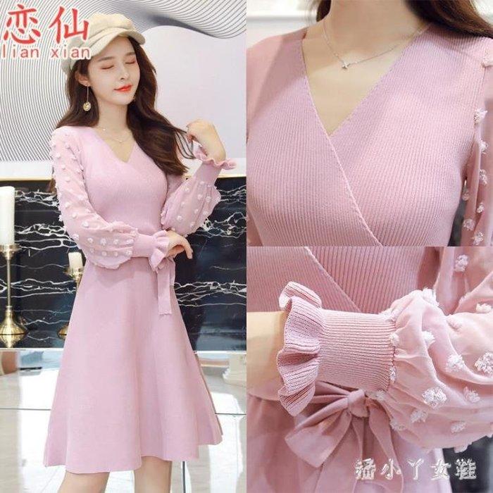 大尺碼針織連洋裝女韓版新款網紗大碼女寬鬆甜美修身毛衣長袖A字裙子 DN19836- -獨品飾品吧☂