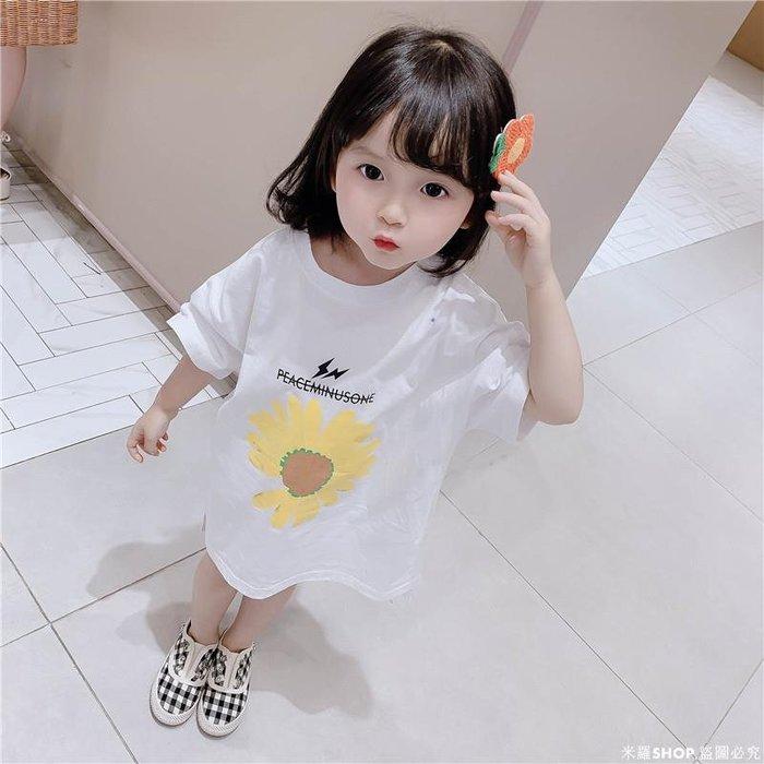 米羅SHOP 女童小雛菊連衣裙2020潮新款兒童寶寶裙子時髦網紅女寶寶寬松上衣T恤衫裙ML686