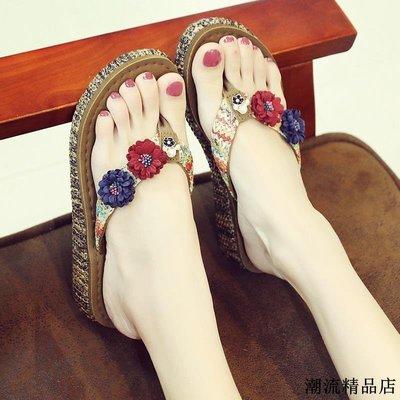 沙灘鞋拖鞋女夏時尚外穿海邊防滑厚底坡跟夾腳涼拖度假花朵人字拖